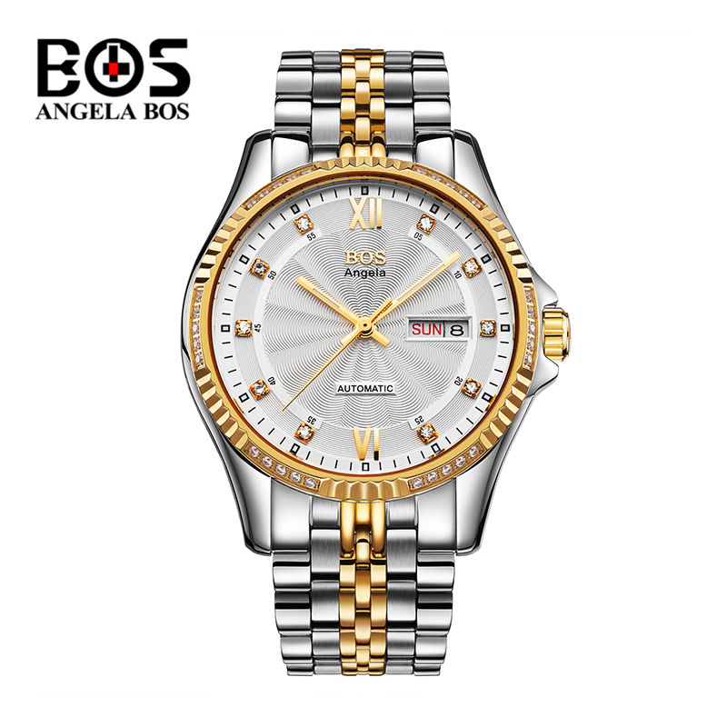 Relogio Masculino ANGELA BOS Gold Silver Military Mechanical Watches Man Waterproof Business Automatic Wrist Watch Reloj Hombre wrist switzerland automatic mechanical men watch waterproof mens watches top brand luxury sapphire military reloj hombre b6036