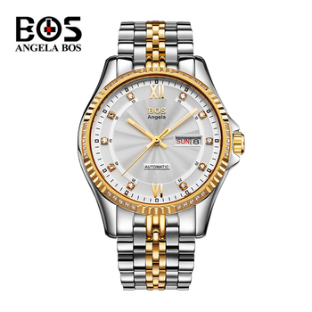 Reloj Hombre Man Luxury Gold Automatic Watch Mens Brand Waterproof Diamond Dress Military Wrist Watch Clock Men Montre Homme BOS