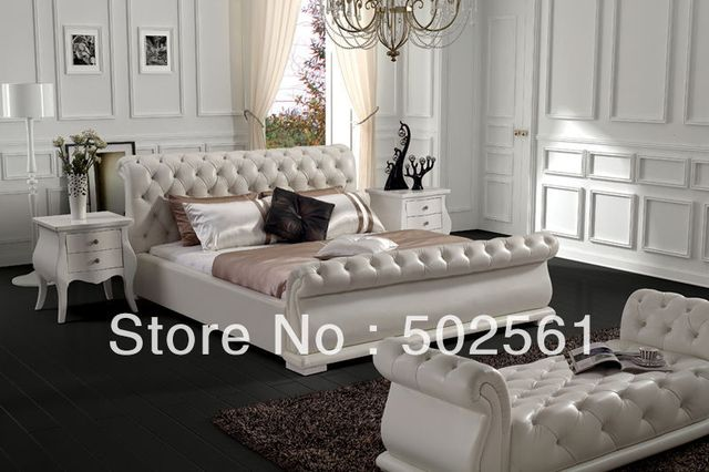 2017 new diamond tufted contemporary King size modern genuine leather leisure bed made in China bedroom furniture