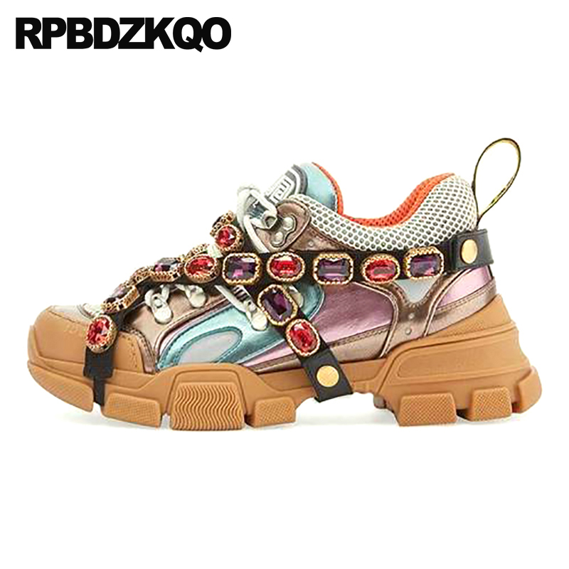 Trainers Rhinestone Sneakers Women Platform Thick Sole Muffin Flats Diamond Elevator Creepers Shoes High Quality Mesh Crystal