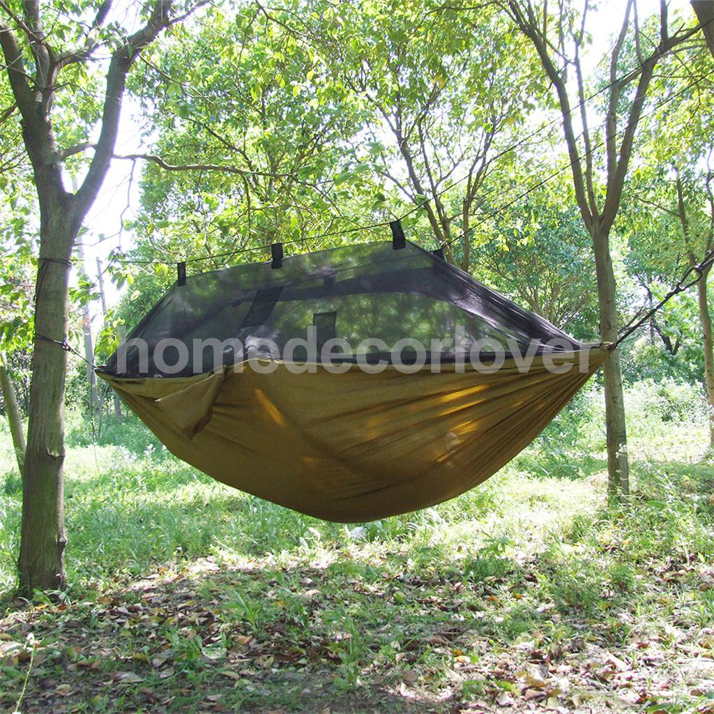 Outdoor Travel Jungle Camping Hammock Garden Hanging Nylon Bed with Mosquito Net - Black/ Brown/ Gray sgodde portable outdoor travel camping tent folding nylon hammock bed mosquito net nylon 210t fabric for travel kits camping page 3