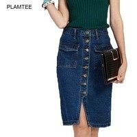 Para mujer Pantalones Vaqueros Falda Jupe Moda de Un Solo Pecho Slim Fit Señoras Rokjes Elegante Solid Saias Faldas de Mezclilla con Doble Bolsillo Dividida