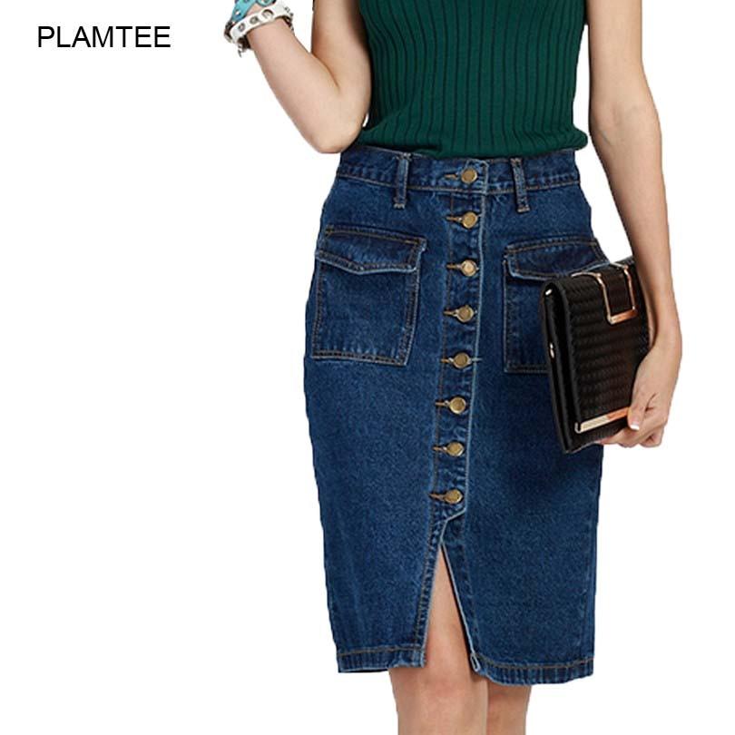 Womens Skirt Jeans Single Breasted Jupe Fashion Slim Fit Ladies Rokjes Elegant Solid Denim Skirts with Double Pocket Split Saias