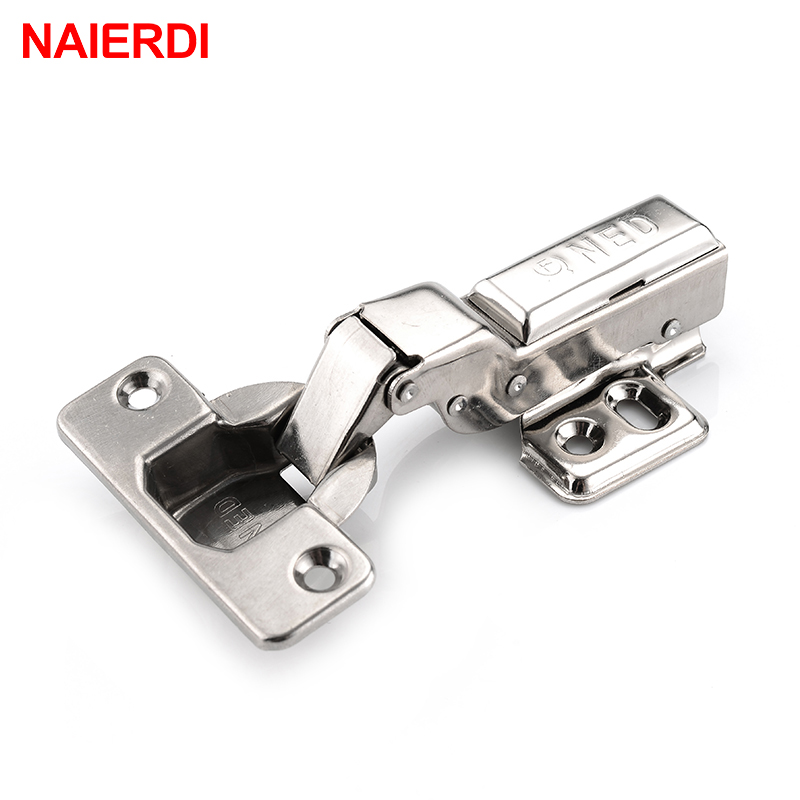 NAIERDI 4PS S Series Stainless Steel Hydraulic Hinge Pure Copper Damper Buffer Cabinet Hinges Cupboard Door Soft Close
