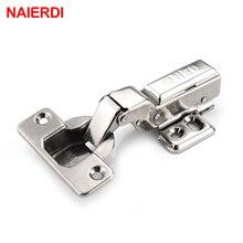NAIERDI 4PS S Series Stainless Steel Hydraulic Hinge Pure Copper Damper Buffer Cabinet Hinges Cupboard Door Soft Close