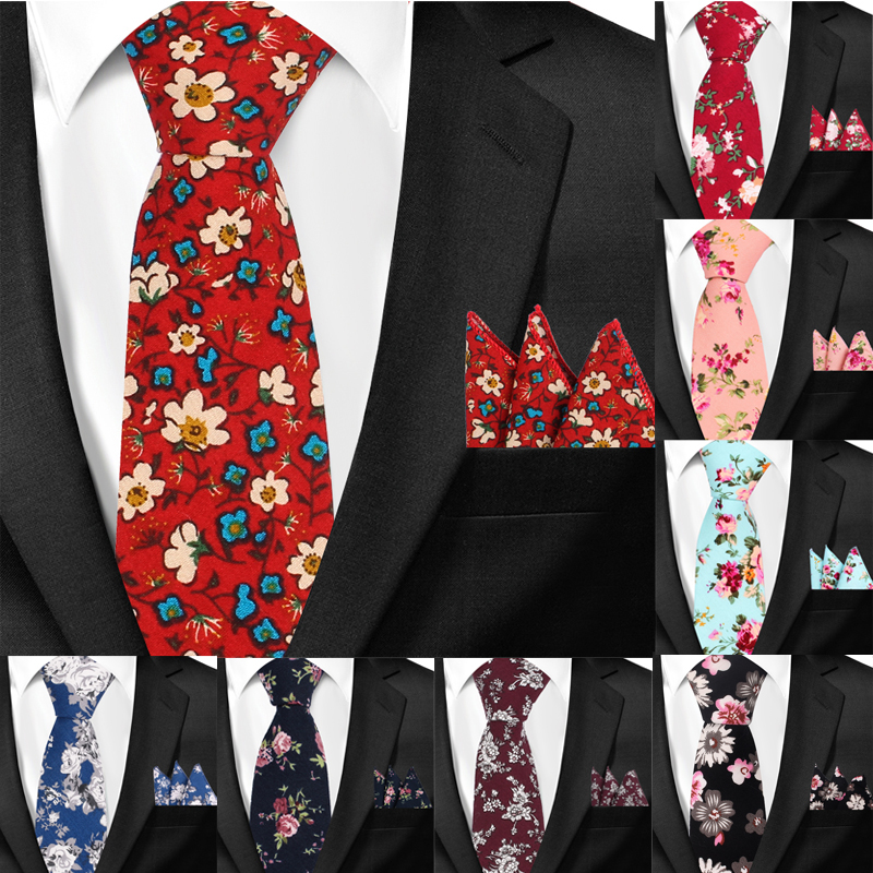 New Casual Floral Cotton Ties And Pocket Square Sets Flower Print Skinny Necktie For Men Mens Neck Tie Cravat 6cm Slim Neckties