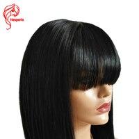 Hesperis Sans Colle Avant de Lacet Perruques Avec Une Frange de Cheveux Humains Remy Cheveux Soie Staright Brésilienne Perruque Avec Bébé Cheveux Noeuds Blanchis