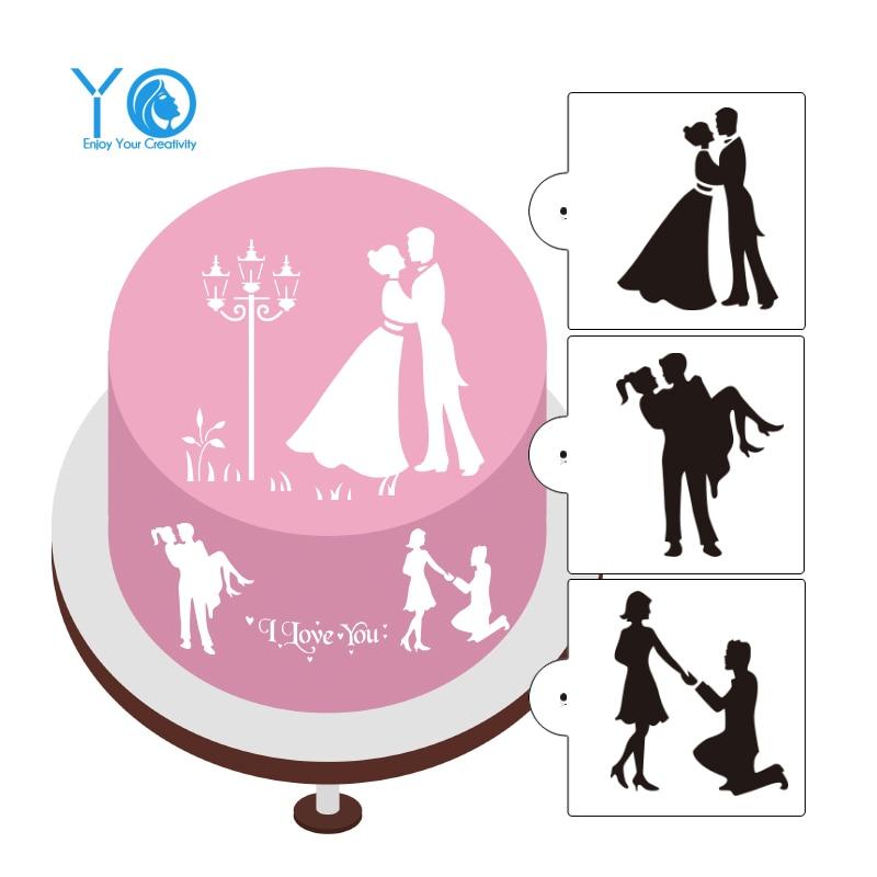 3pcs / lot אהבה צללית עוגה סטנסילים עוגת חתונה לקשט כלים Cookie Moulds