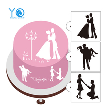 3pcs/lot Love Silhouette Cake Stencils Wedding Cake Decorating Tools Cookie Moulds