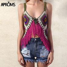 Aproms Multi Colored Tassel Handmade Camis Casual V-neck Bow Tie Front Cardigan Women Summer Boho Beach  Tank Tops Camisole