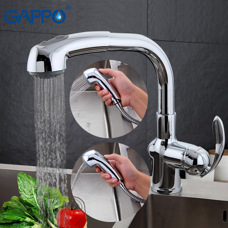 GAPPO Kitchen Faucet Pull out Kitchen sink Faucet Tap Single Handle Cold Hot Water kitchen torneira Deck mount Mixer GA1052-2 classic pull out kitchen mixer tap of single handle single hole kitchen faucet with hot cold solid brass kitchen sink water tap