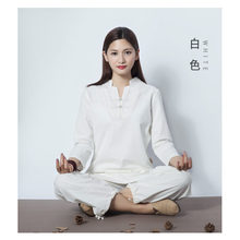 Fitness clothing outdoor sports cotton and linen yoga clothes female housewife meditation suit(China)