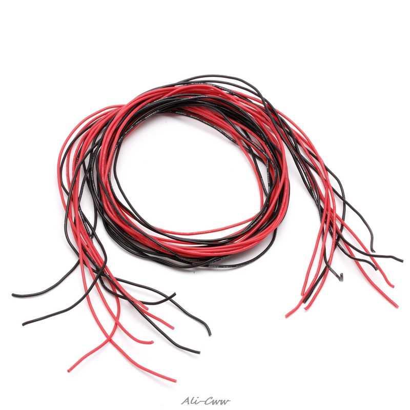 1 set Flexibele Gestrande Koperen Kabels 1 M Rood + 1 M Zwart Siliconen Draad Bedrading Kabels 22/24 /26 Gauge AWG Voor RC