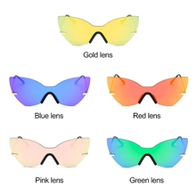 Women Fashion One Piece Lens Mirrored Cat Eye Sunglasses Designer Eyewear Shades
