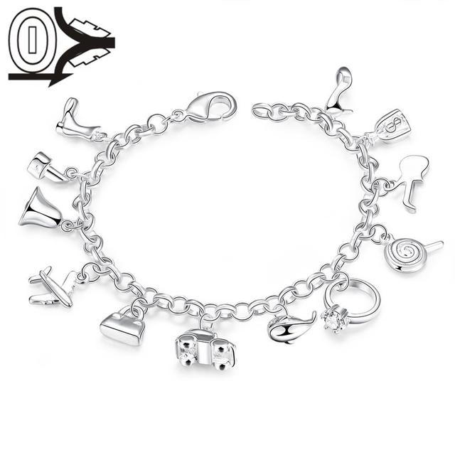 Free Shipping Whole Silver Plated Bracelet Wedding Jewelry Accessories Fashion Hanging 12 Charms