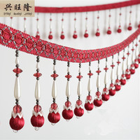 XWL 1M 14cm Wide Beaded Fringe Lace Trim For Curtains DIY Lamp Sofa Stage Decorative Crystal