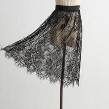 Korean Fashion Women Sexy Mesh Lace Transparent Short Skirt Overskirt Ladies  Elastic High Waist Black White Knee Length Skirt