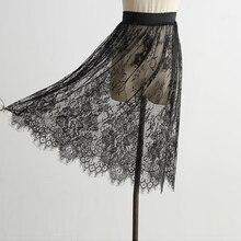 קוריאני אופנה נשים סקסי Mesh תחרה שקוף קצר חצאית Overskirt גבירותיי אלסטיות גבוהה מותן שחור לבן באורך הברך חצאית