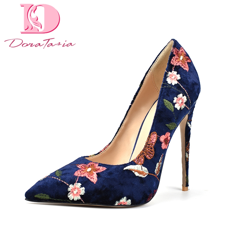 DoraTasia 2018 flowers print plus Size 34-42 Pointed Toe Party wedding pumps woman Shoes Thin High Heels slip on shoes woman woman high heeled shoes fashion pointed toe rivet wedding thin heels pumps 2017 autumn valentine shoes woman party plus size