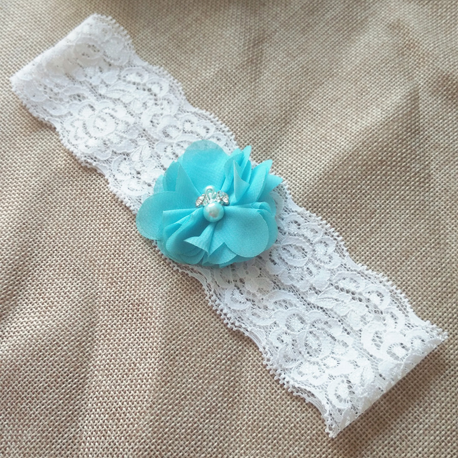 2pcs Wedding Vintage Blue Chiffon Flower with Rhinestones and Pearls Bridal Lace garter