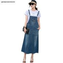 Harajuku Long Denim Skirt Women Spring Summer Front Pocket Back Slit Straight Jeans Overalls Casual Plus Size Suspender Skirts