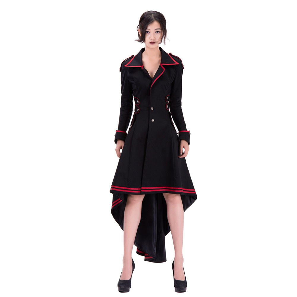 Cosplaydiy Punk Rave Womens Steampunk Military Coat Jacket Long Black Red Gothic Uniform Women Medieval Military Coat L0516