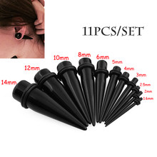 11 pçs/lote preto acrílico tapers orelha alongamento kits piercing expansor macas plugues túneis piercings expansões de la oreja