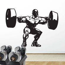 Gym Sticker Fitness Barbell Muscle Crossfit Decal Body-building Posters Vinyl Wall Decals Parede Decor Mural Gym Sticker