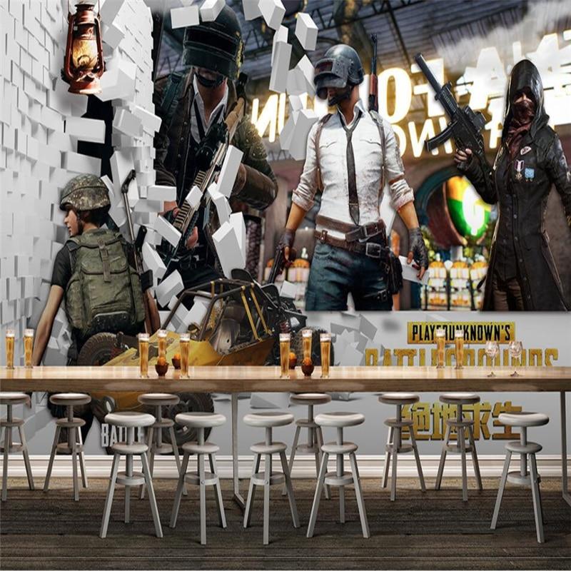Beibehang Jedi Survival Battle Royale Chicken Game Internet Coffee Wall Custom Large Mural Green Wallpaper papel de parede