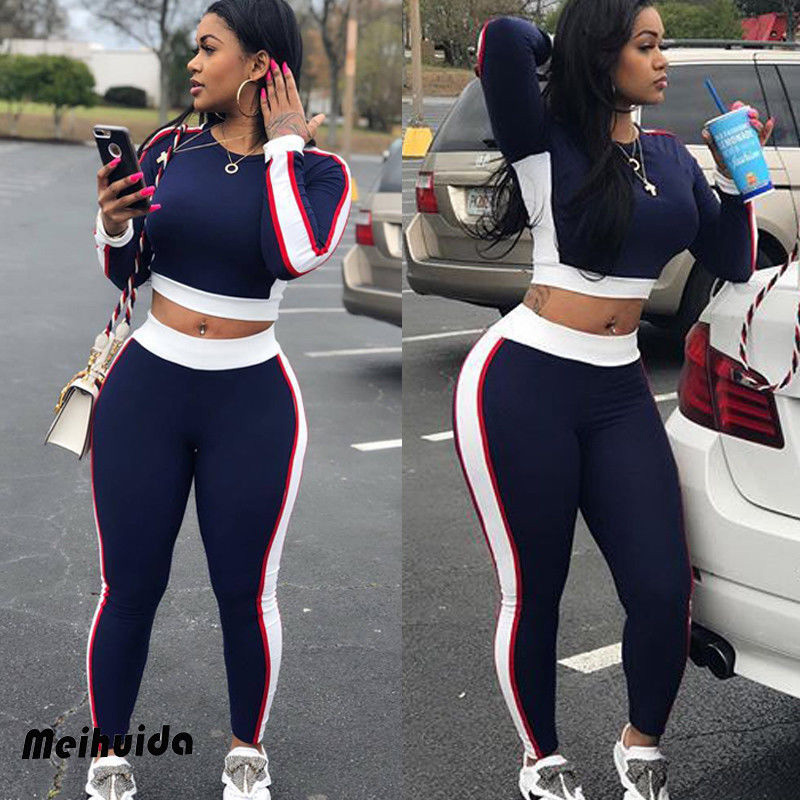 Women 2Pcs Tracksuit Long Sleeve Sweatshirt Pants  1