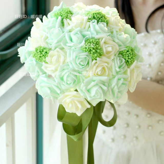 Handmade Wedding Bouquet Artificial Hand Holding Bridesmaid Bouquet For Bride Flowers Blue Mint Ivory Wedding Gift Accessories