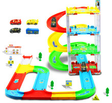 New high quality 55pcs Simulation Parking Toys four Parking Orbit Car Toys ABS Vehicles Gift Toys for Children kid's gift