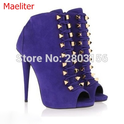 Hot selling fashion suede ankle boots lace up peep toe summer high heels boots studded spike heels shoes woman hot selling chic stylish black grey suede leather patchwork boots mid calf spike heels middle fringe boots side tassel boots