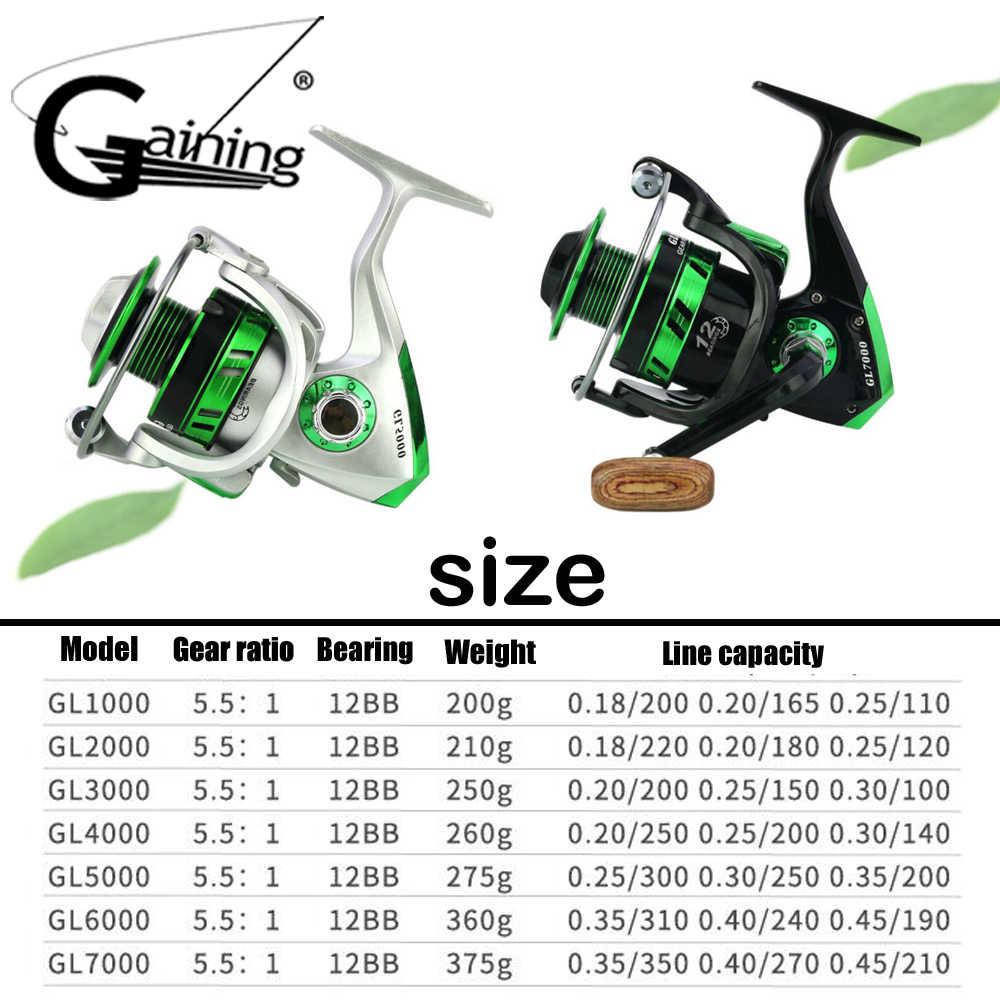 12 Ball Bearings Spinning Reel Small Big Spinning Reel Carp Saltwater Fish Reels GL1000-GL7000 Metal Handle Fishing Wheel