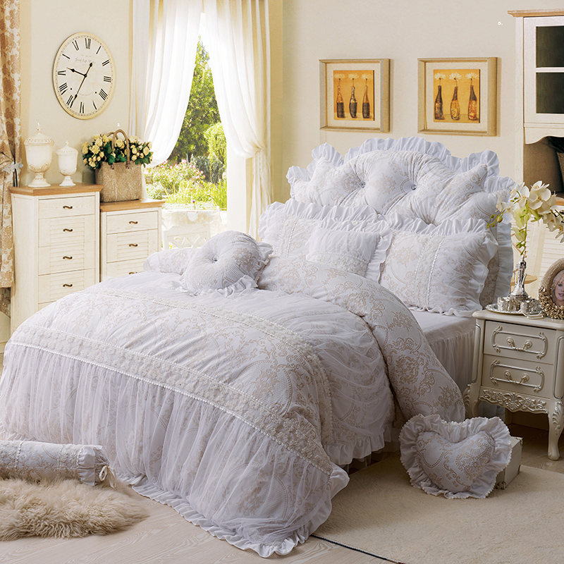 Princess style White fleece winter warm Bedding set lace Luxury Duvet cover set full queen king