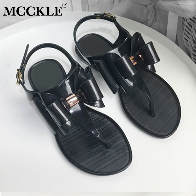 MCCKLE Women Casual Flip Flops Sandals Female Buckle Strap Flat Jelly Shoes Leisure Woman Back Strap Comfortable Summer Shoe covoyyar 2018 fringe women sandals vintage tassel lady flip flops summer back zip flat women shoes plus size 40 wss765