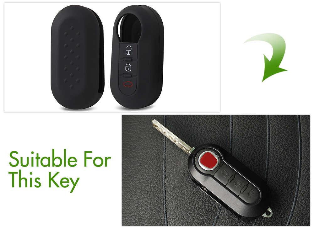 1 pçs silicone caso capa chave do carro para fiat 500 panda punto bravo 3 botão flip dobrável remoto caso escudo chave estilo
