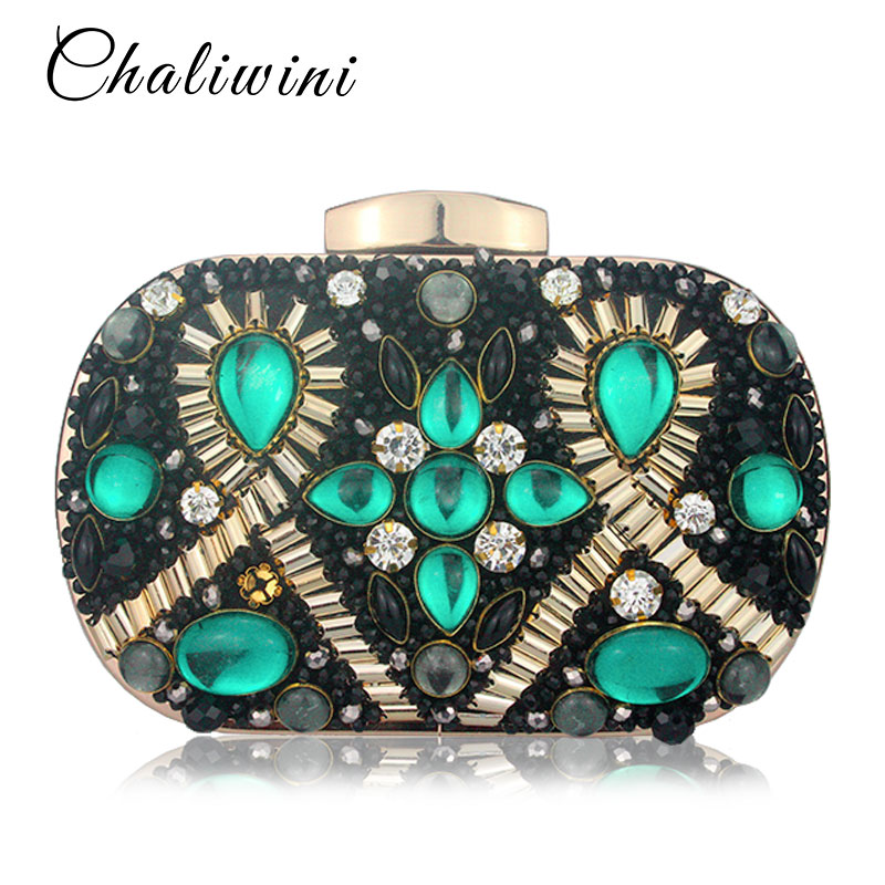 Chaliwini Green Emerald & Black Beaded Women Evening Clutch Wedding Party Dinner Handbags and Purses Chain Shoulder Bag