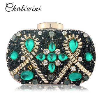 Chaliwini Green Emerald & Black Beaded Women Evening Clutch Wedding Party Dinner Handbags and Purses Chain Shoulder Bag - discount item  52% OFF Women's Handbags