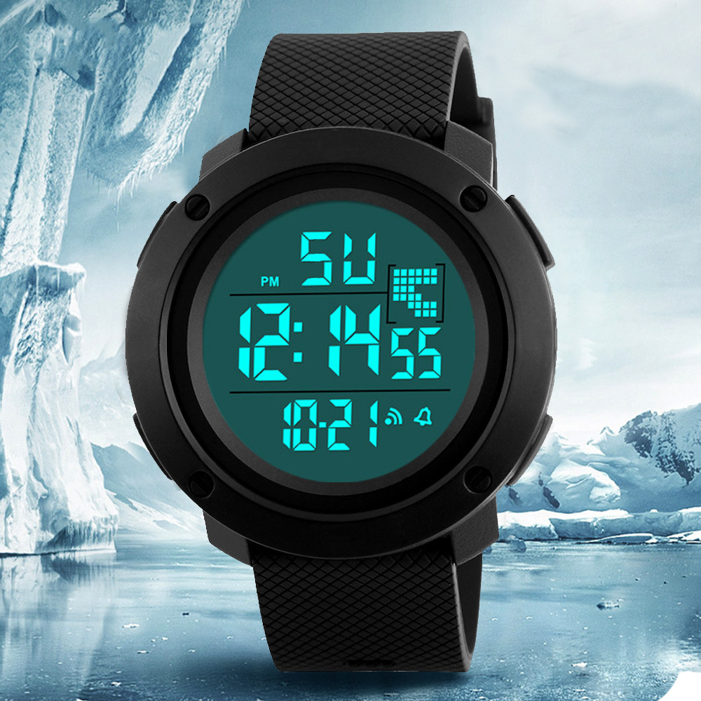 Male Clock Mens Digital LED Analog Quartz Alarm Date Sports Wrist Watch