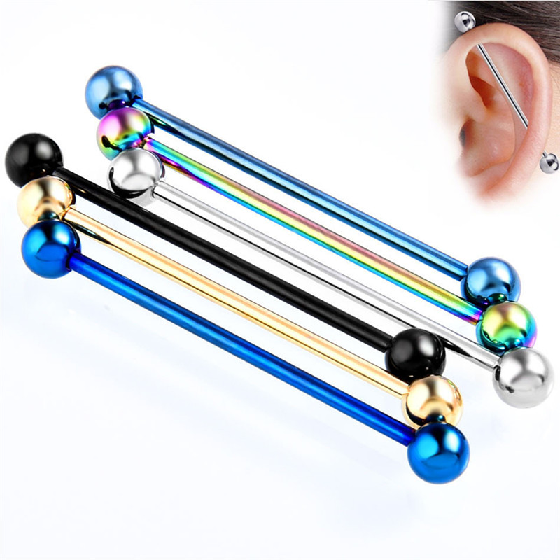 6 Colors 34mm Tongue Piercing Septum Industrial Barbell Flesh Tunnels Ear Plugs Ear Expanders Body Jewelry 1 PC