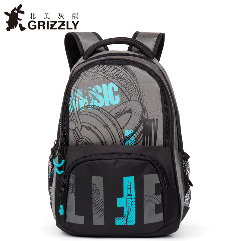 GRIZZLY Men Backpack Travel-Bags Teenager Boys Casual Mochila Multifunction Large-Capacity