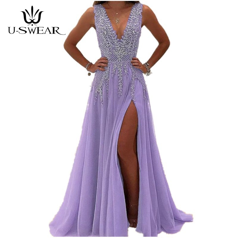 U SWEAR Abendkleider 2019 Sexy V Neck Sleeveless Applique Evening Party Prom Formal Gowns Long Dresses Vestidos Robe De Soiree