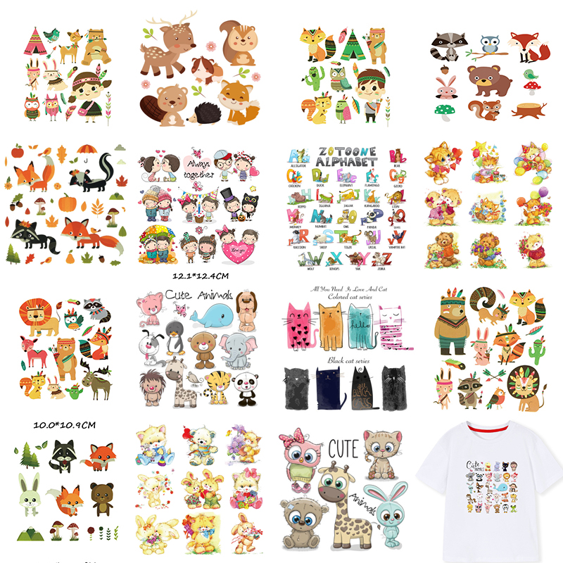 Cartoon Animals Iron On Patches Hot Transfer Pyrography Sticker Badges DIY Boy Girl Stripes Clothes Patch Stickers Appliques E