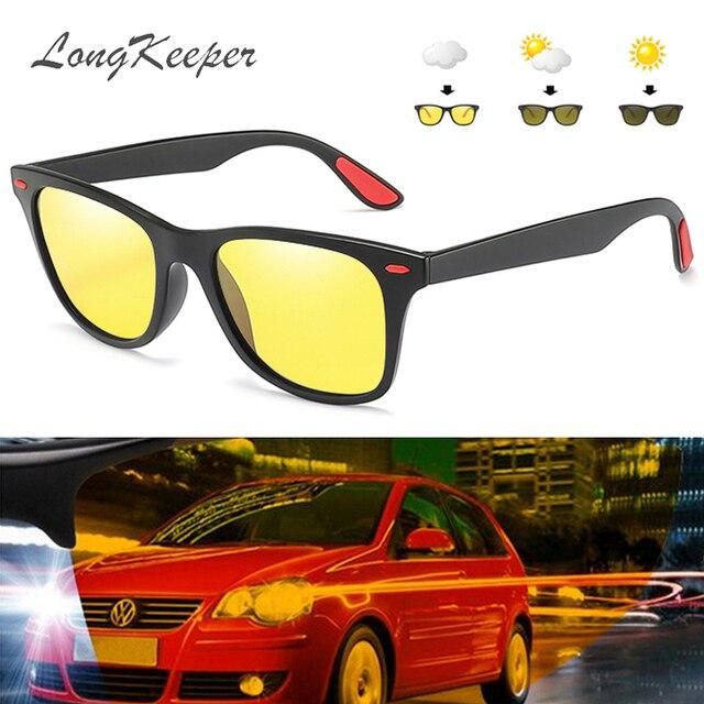 LongKeeper clásico sol fotocrómicas hombres polarizada visión nocturna  negro marco gafas de sol mujeres UV400 conducción a4d7ba3ab877