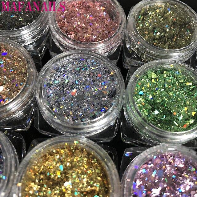 12jar/set Laser Arcobaleno Unghie Artistiche Glitters Paillettes Copriletto Polvere di Diamante Holo Fiocco Colorato Scintillio