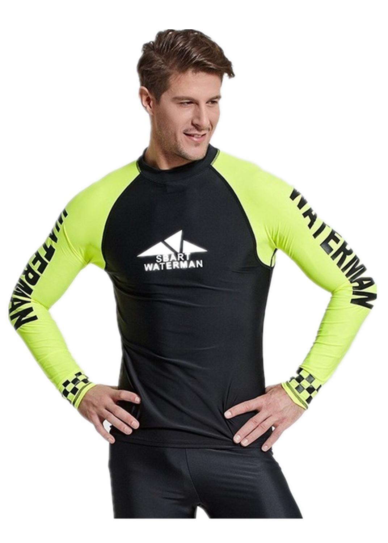 2e47ef1273f4 Protección UV camiseta de natación Rashguard hombre traje de baño manga  larga Lycra Surf Rash Guard hombre Surf natación buceo camiseta traje ...