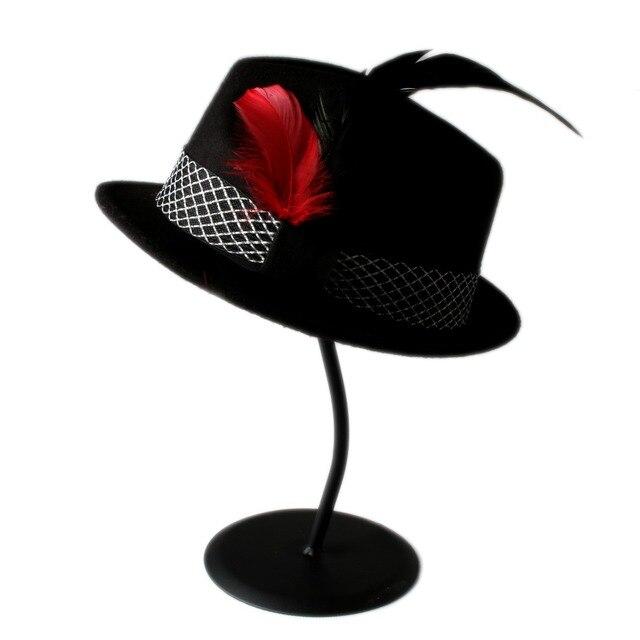 VTG Men Women Wool Black Style Felt Fedora hat Trilby Sun Hat BNWT NEW  Gangster Panama Hat With Feather In Stock da94bb3b897