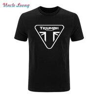 TRIUMPH MOTORCYCLE Letter Print T Shirt For Men Cotton Short Sleeve Print Hip Hop O Neck