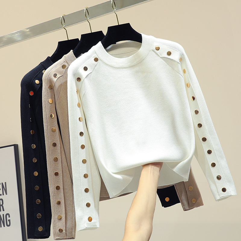 Fashion White Sweater Women's Buckle Long Sleeve Sweater 2019 Spring Winter New Slimming Skinny Knitted Top Crop Top Knit Shirts